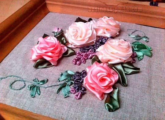 Картины вышитые лентами - 3D цветы