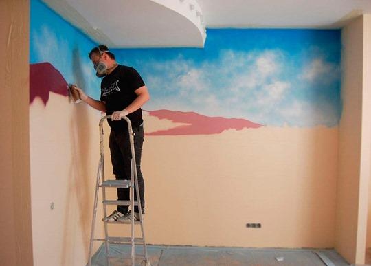 Аэрография на стенах в квартире, роспись стен
