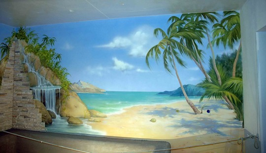 Аэрография на стене - пальмы